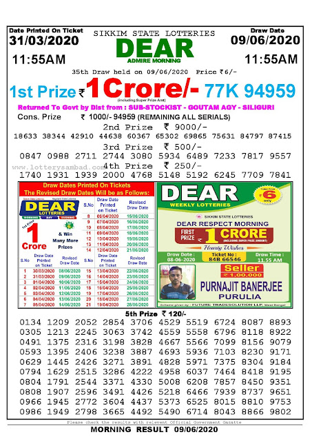 Sikkim State Lottery Sambad Today Result 11.55 AM 31-03-2020