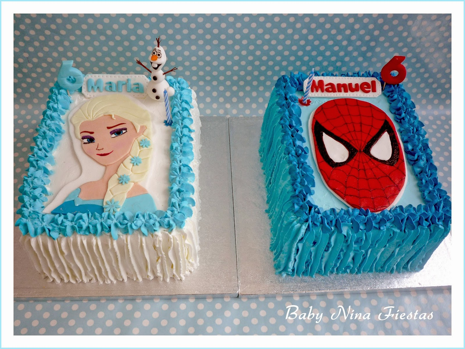 tartas crema frozen y spiderman