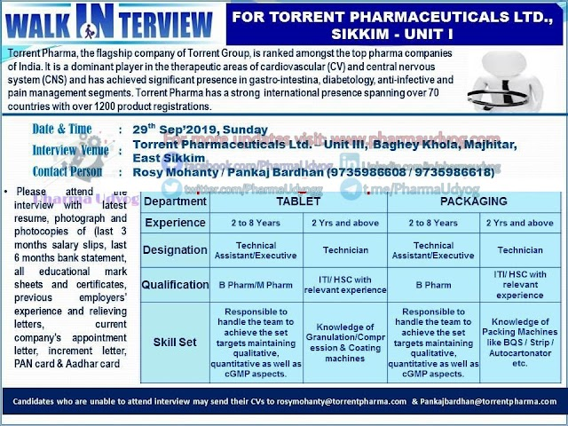 Torrent Pharmaceuticals   Walk-in interview at Sikkim for Production- Packing   29 Sept 2019   Pharma Jobs