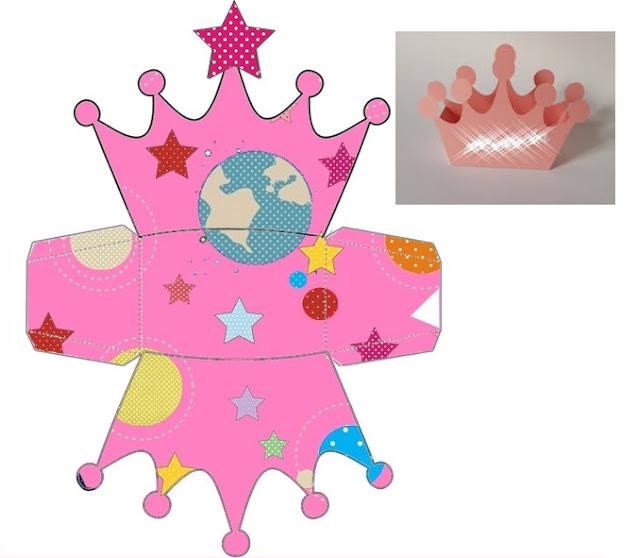 Astronaut Girls: Free Printable Crown Shapped Box.