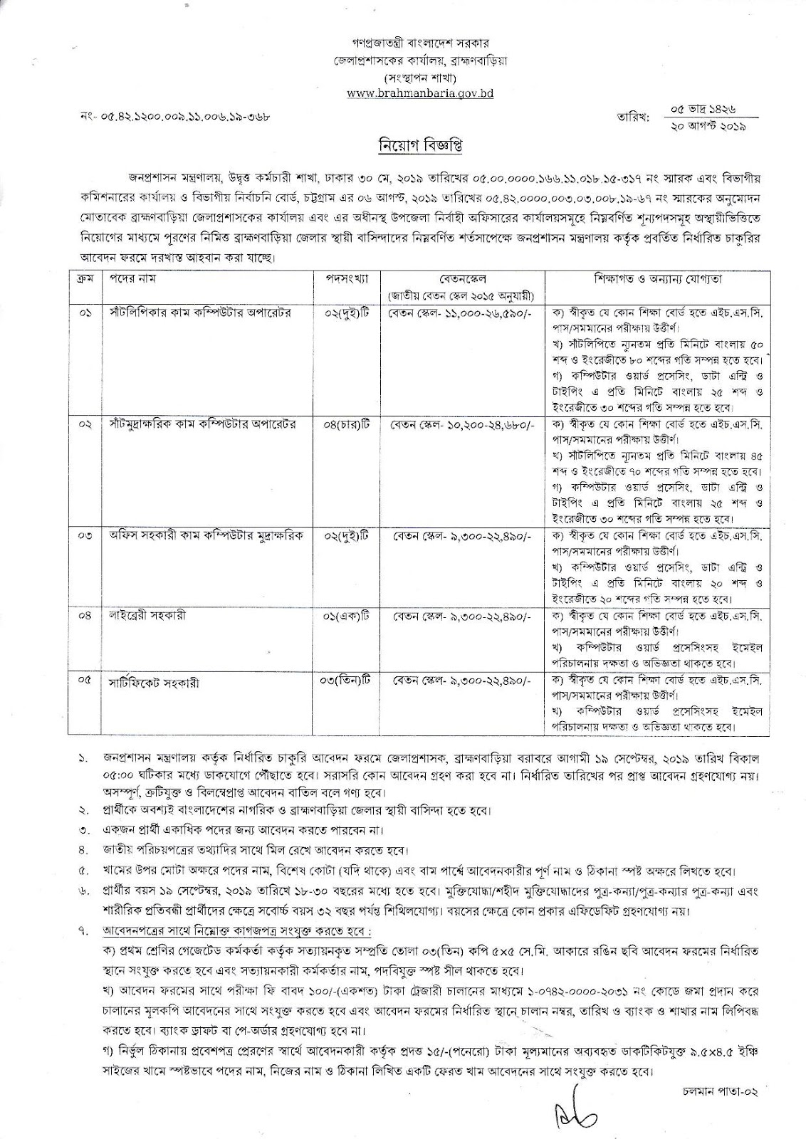 Dc Office Job circular 2019 B Baria