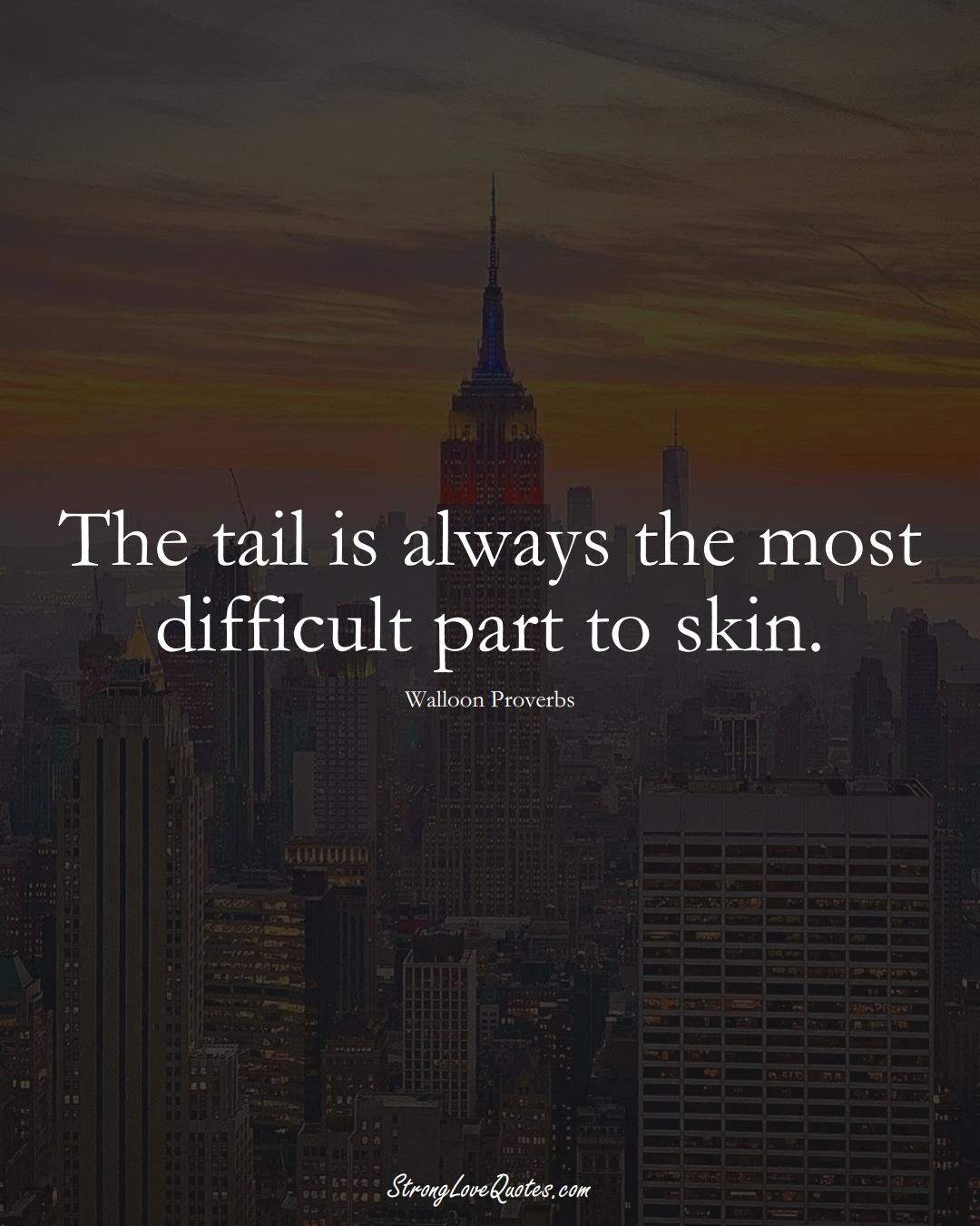 The tail is always the most difficult part to skin. (Walloon Sayings);  #aVarietyofCulturesSayings