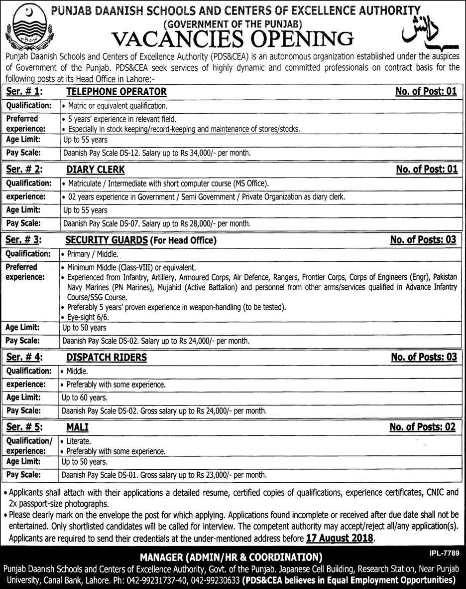 Daanish Schools Govt of Punjab latest Jobs August 2018