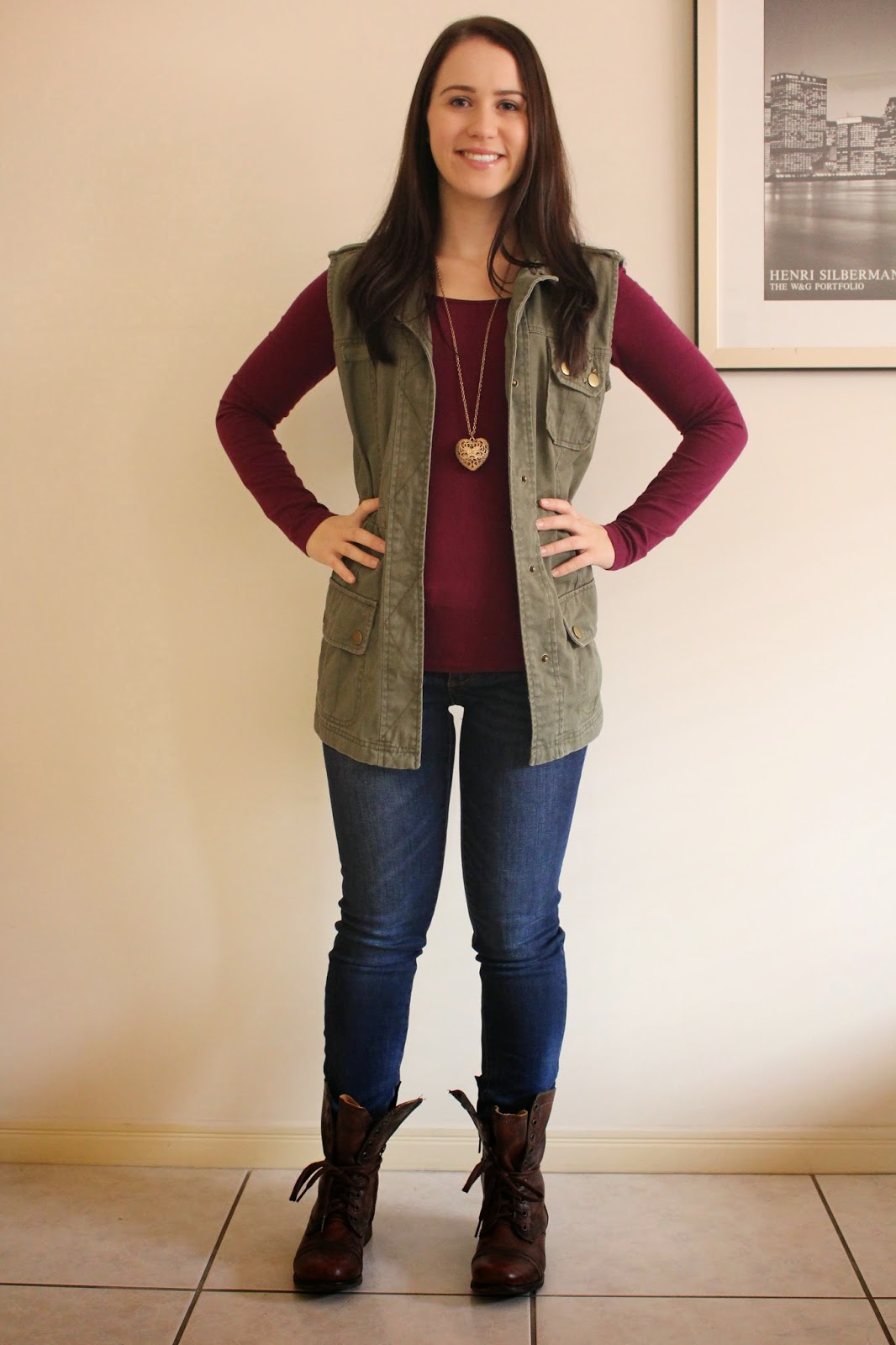 Dark brown combat boots outfit
