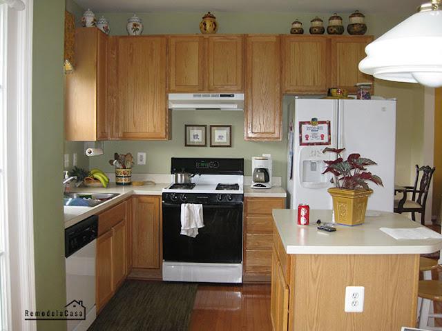 oak kitchen painted white