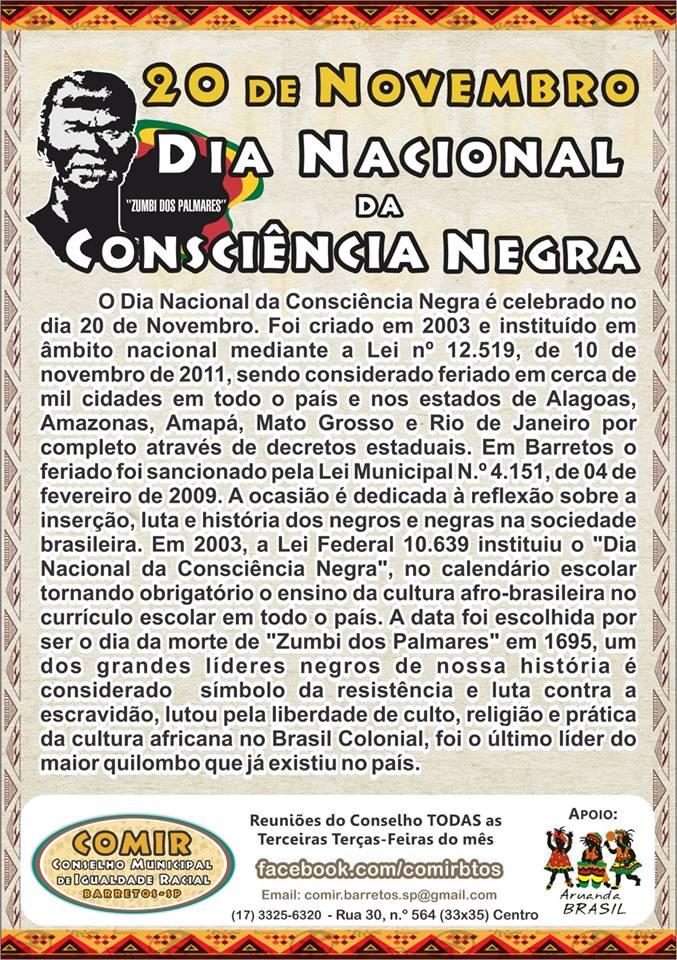 COMIR Barretos - Dia Nacional da Consciência Negra
