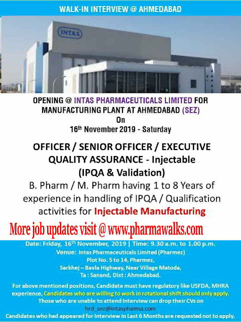 Intas Pharmaceuticals - Walk-in interview for Quality Assurance on 16th November, 2019