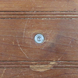 Finish Washer Filling Hole in Drawer Left by Old Knob Shank