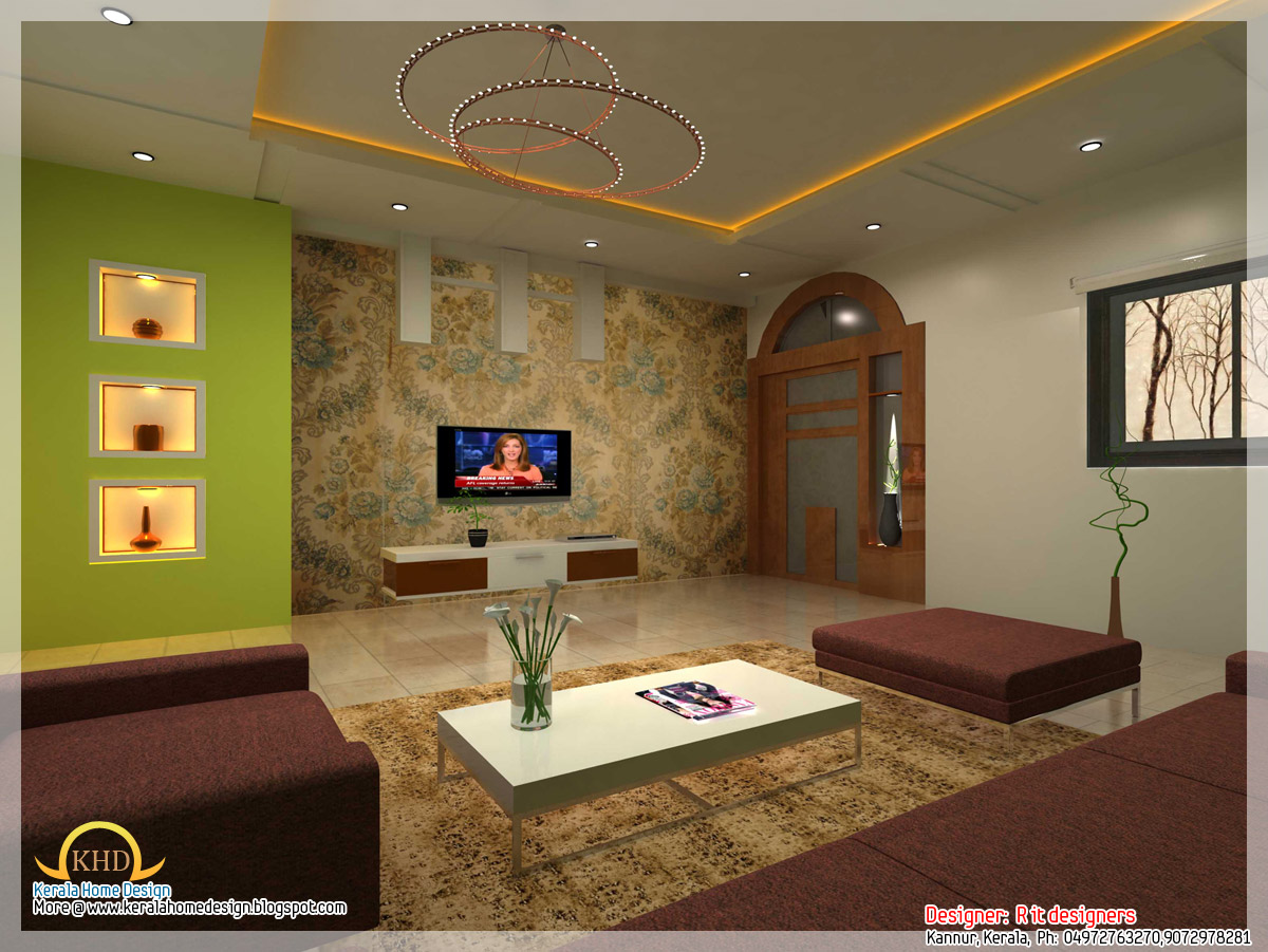 Interior design idea renderings kerala home design and for Living room interior design india