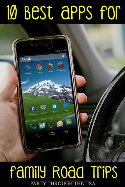 My Favorite Apps for Road Trips // Party Through the USA // Even screen-free families can find lots of apps for their phones during the road trips and travel.  These of our 10 favorite apps for families and the ones we use most frequently all year long.