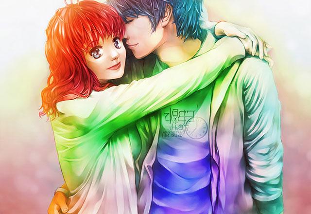 love couple cute anime girl wallpaper