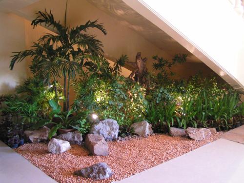 Indoor Garden Design Usefull Under Stairs | Under Stair Garden Design | Plant | Ideas | House | Stair Case | Pebble Garden