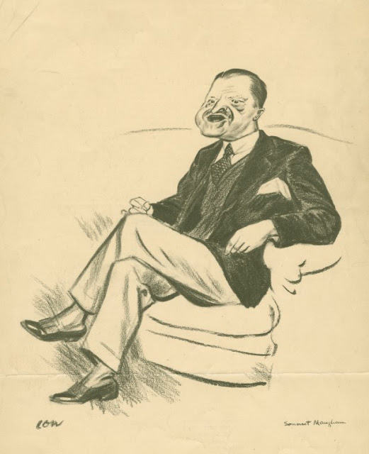 Drawing portrait of Somerset Maugham