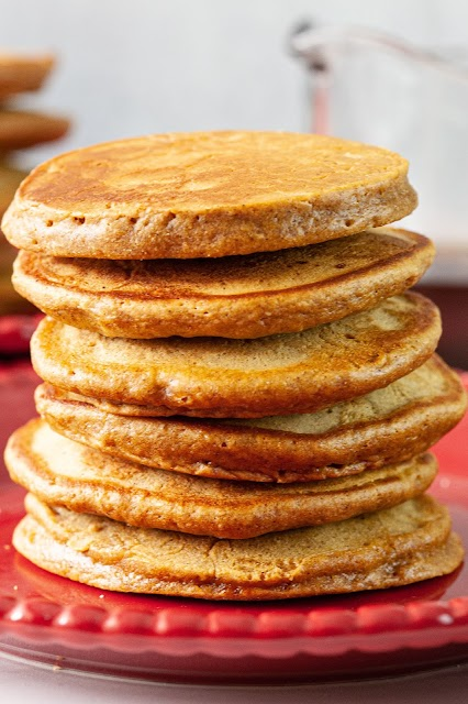 Pancake stack on red plate