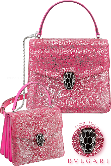 Bvlgari Serpenti Forever crossbody crystal galuchat body bag in flash amethyst #brilliantluxury