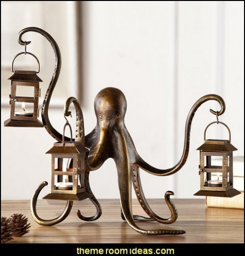 octopus lantern  coastal kitchen decor - beach house kitchen - Coastal kitchen & dining - coastal Christmas kitchen decorations - Cottage Holiday decor - octopus seafood fish shaped kitchen decor - nautical kitchen accessories - Sea Shells cutlery coastal cottage dinnerware
