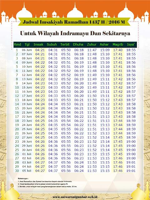 Jadwal Imsakiyah Indramayu 1437 H 2016 M
