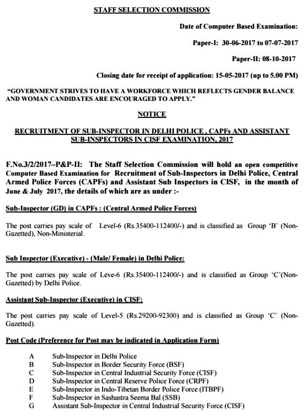SSC Delhi Police Recruitment 2017 SI, CAPFs, ASI in CISF Examination