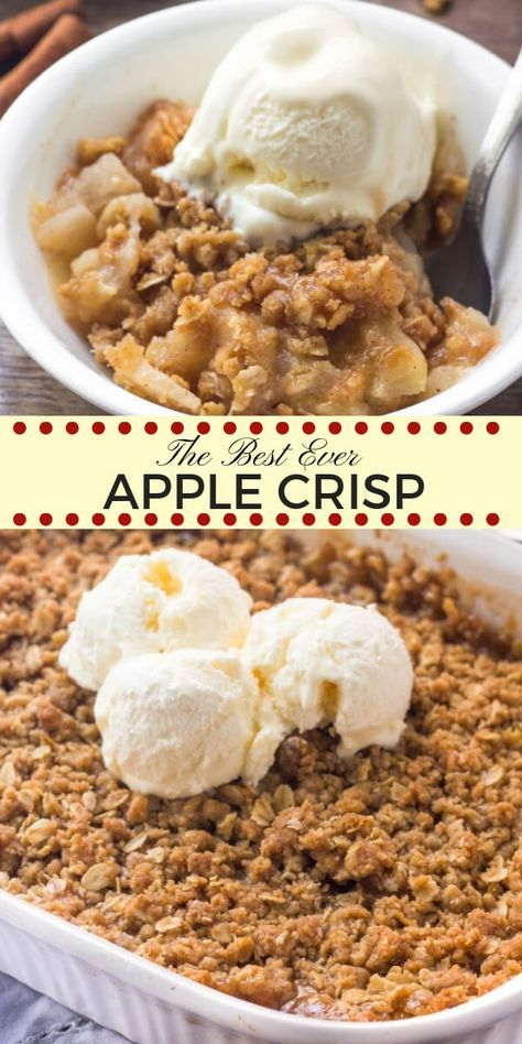 This easy apple crisp recipe is hands-down the best I've ever tried. It tastes warm and cozy thanks to the baked cinnamon apples and brown sugar oatmeal crumble topping. Made with fresh apples and simple pantry ingredients - it's the perfect fall treat.
