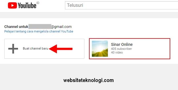 Klik menu Buat channel baru youtube