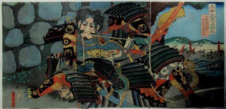 五雲亭貞秀 太平記尼ケ先合戦 加藤正清勇猛 四方手左司馬組討の浮世絵版画販売買取ぎゃらりーおおのです。愛知県名古屋市にある浮世絵専門店。