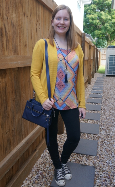 mustard yellow cardigan with black nobody denim skinny jeans converse navy bag mixed print tank | awayfromblue