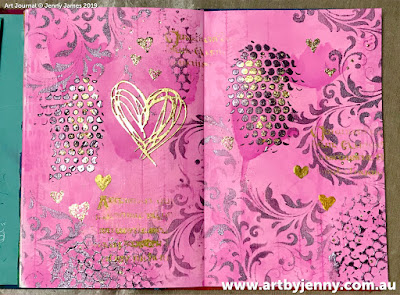art journal page by Jenny James - golden hearts with pink and purple