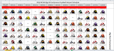 2016 College Football Helmet Schedule Spreadsheet