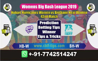 Who will win Today WBBL 2019, 42nd Match Hobart vs Brisbane, WBBL T20 2019