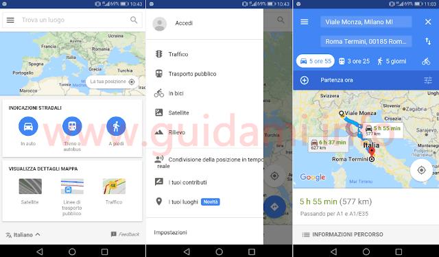 Google Maps Go schermate