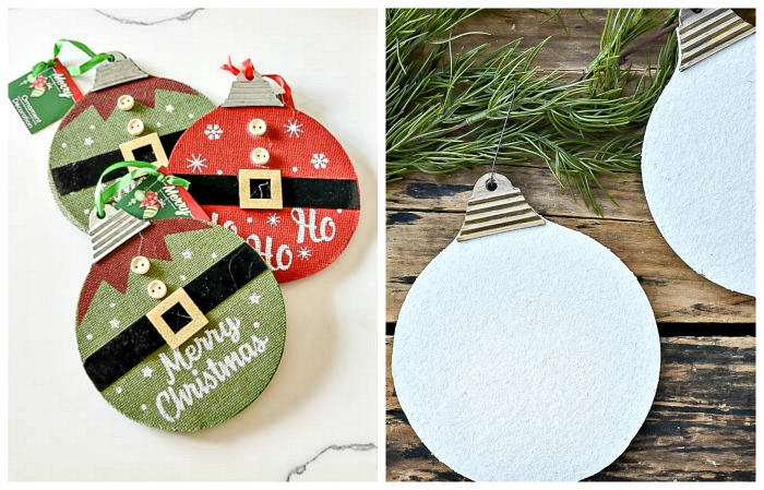 Dollar Tree Vintage inspired diamond dust ornaments