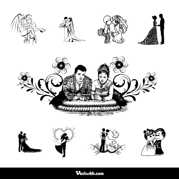 Bride and Groom for wedding invitation Free Vector, Cambodia wedding Bride and Groom vector