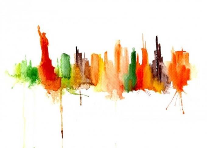 watercolor cityscape new york