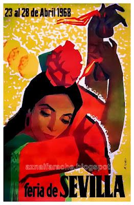 Cartel Feria de Sevilla 1968 - Manuel Flores Pérez - Flor morena