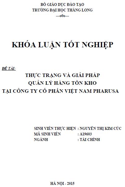 Thực trạng và giải pháp quản lý hàng tồn kho tại Công ty Cổ phần Việt Nam PHARUSA
