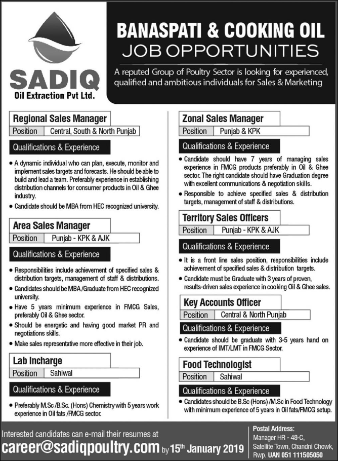 Advertisement for Sadiq Poultry Jobs 2019