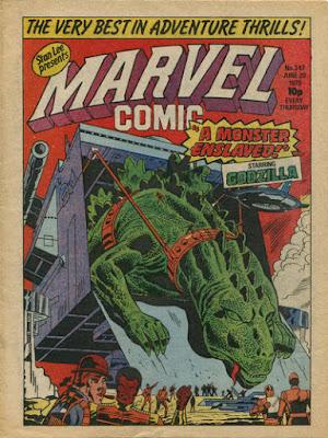 Marvel Comic #347, Godzilla captured by SHIELD