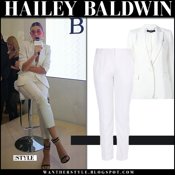 Hailey Baldwin in white blazer stella mccartney ingrid and white pants stella mccartney octavia what she wore suit outfit