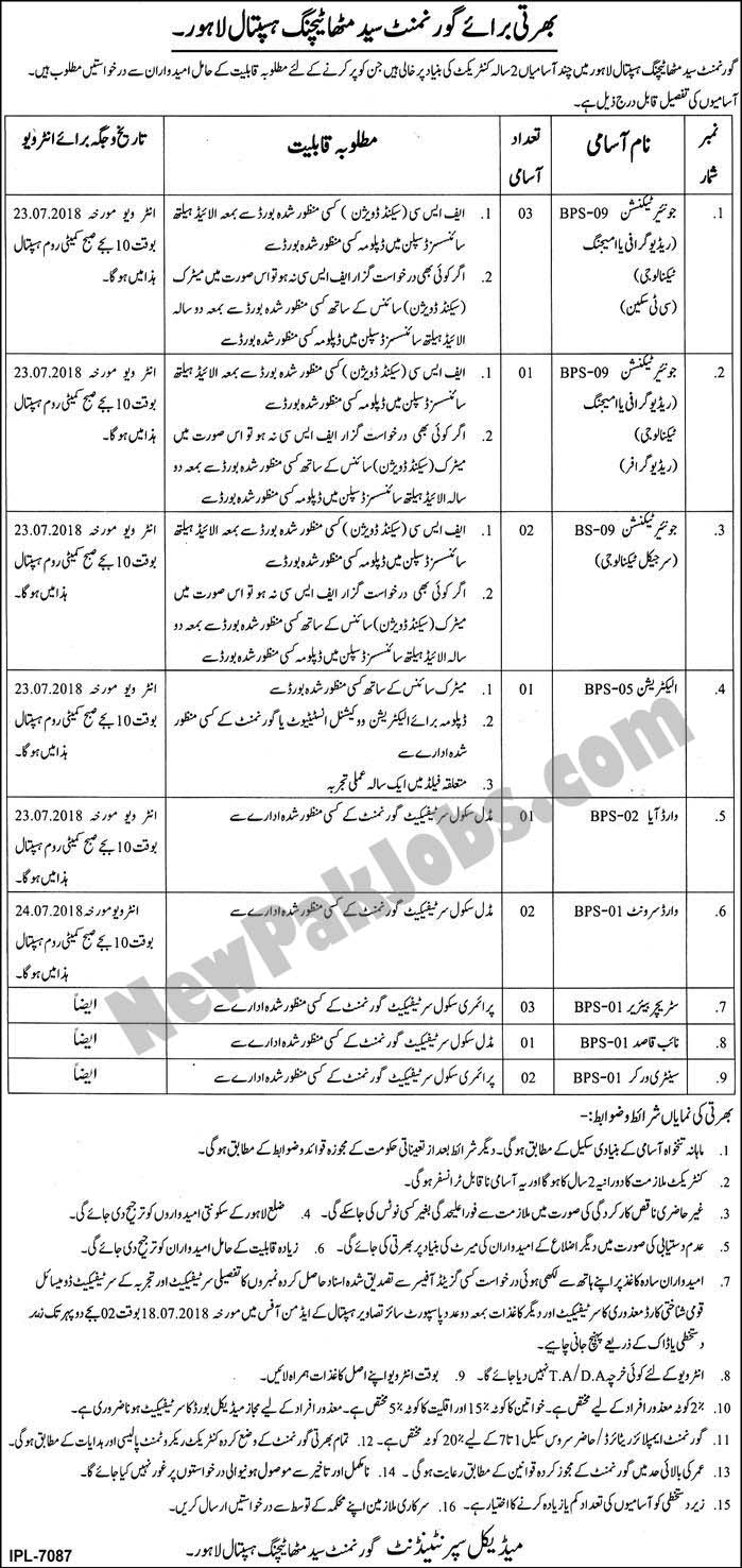 Govt Jobs July 2018 in Syed Mittha Teaching Hospital Lahore for Intermediate to Primary