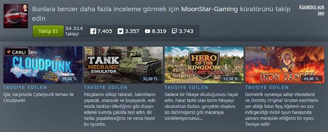 Steam MoonStar Gaming Küratör Sayfası