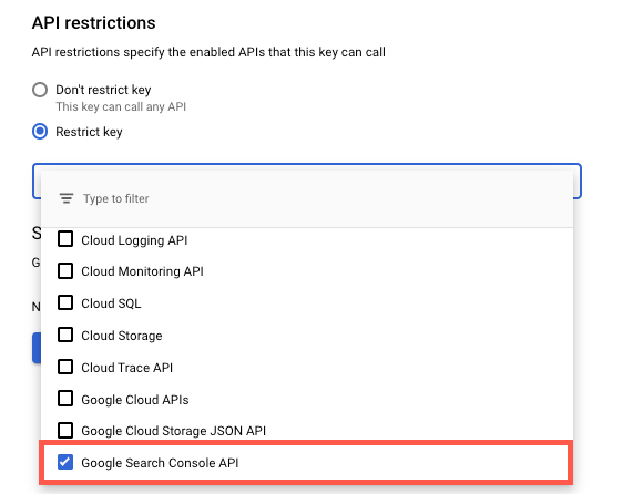 Google Search Console API restrictions setting