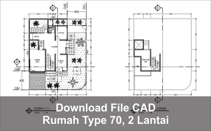 download rumah type 70 dua lantai autocad