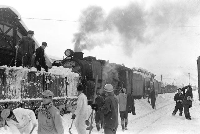 昭和49年、厳寒の遠軽駅