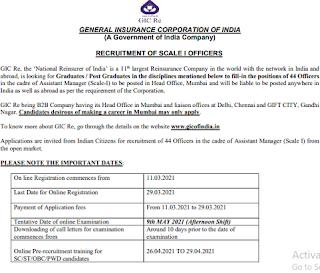 GIC Officer Recruitment 2021 details