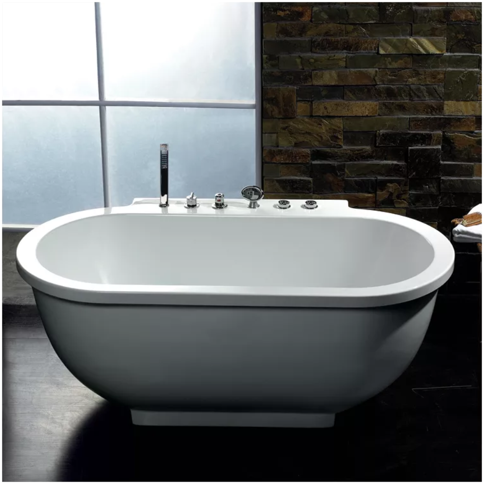 Freestanding Tub With Faucet Holes. Ariel AM128JDCLZ Bath Whirlpool Tub Freestanding Tubs with Deck Mount Faucets  Find Like Buy