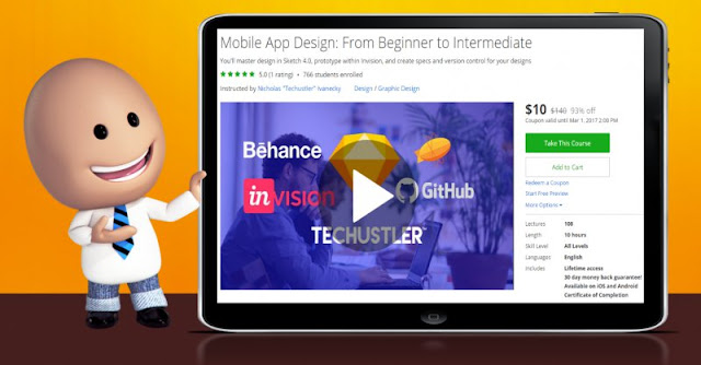 [93% Off] Mobile App Design: From Beginner to Intermediate| Worth 140$