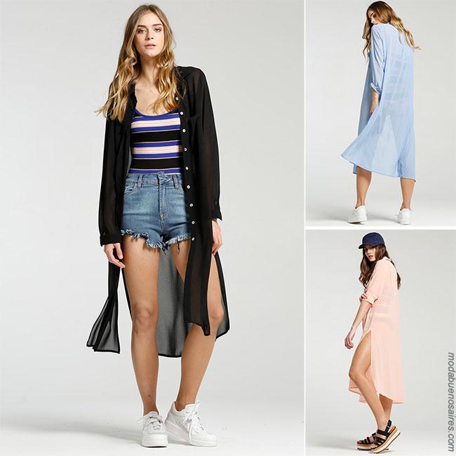 Moda 2018 mujer - Maxicamisas en outfits con shorts para mujer . Moda verano 2018