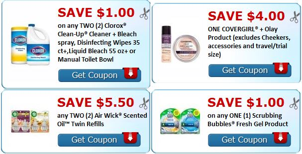 print new air wick, clorox, scrubbing bubbles and covergirl coupons