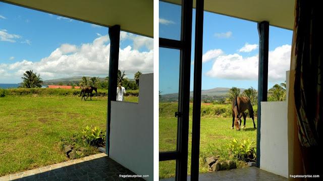 Vista da varanda do meu quarto no Tupa Hotel, Hanga Roa, Ilha de Páscoa