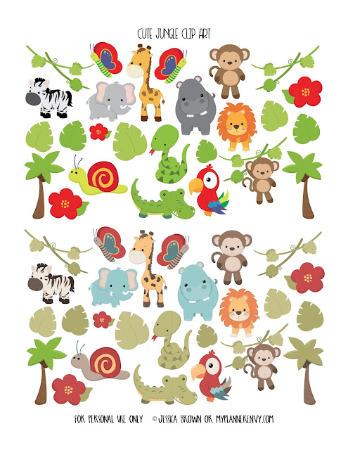 Cute Jungle Clip Art from myplannerenvy.com